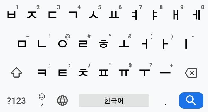 韓国語(ハングル)キーボードのパソコン用配列(Gboardというアプリ使用の場合)