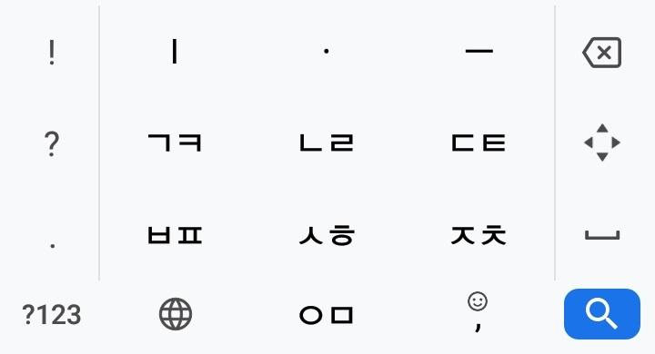 韓国語(ハングル)キーボードのテンキー配列(Gboardというアプリ使用の場合)