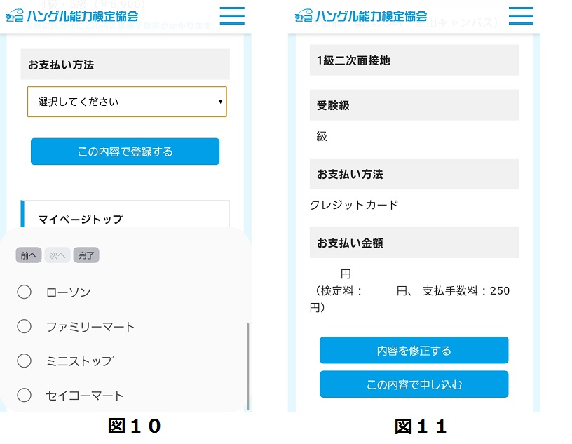 図10. 支払い方法の選択画面と図11. 個人情報の確認画面