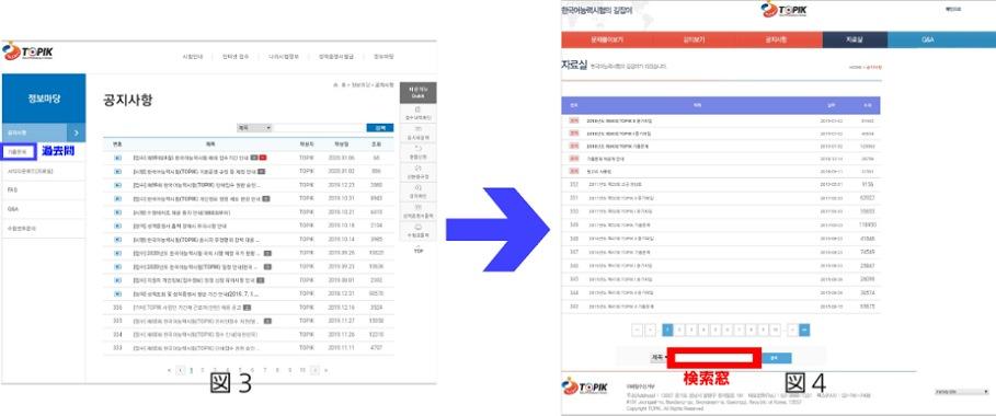図3 정보마당の画面と図4 過去問入手画面