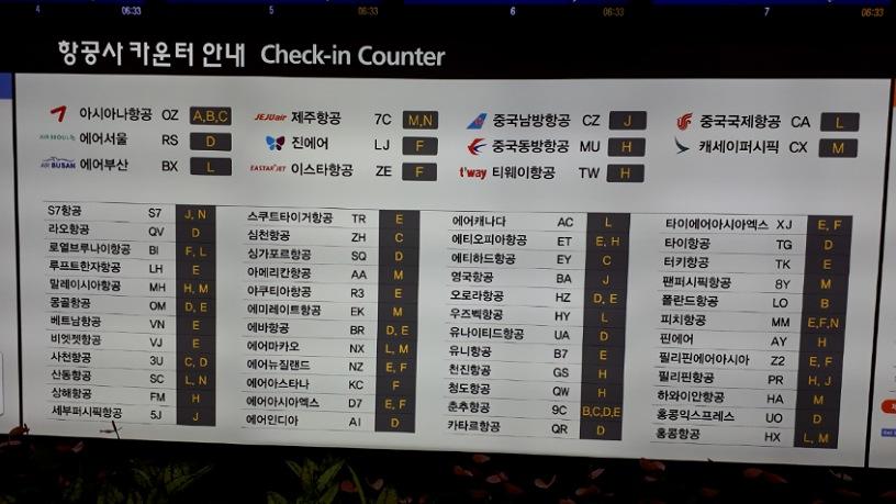 仁川(インチョン)空港の第1ターミナルの航空会社一覧の看板