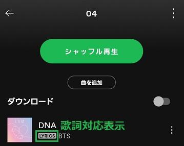 Spotifyの曲の歌詞対応かを確認できる画面