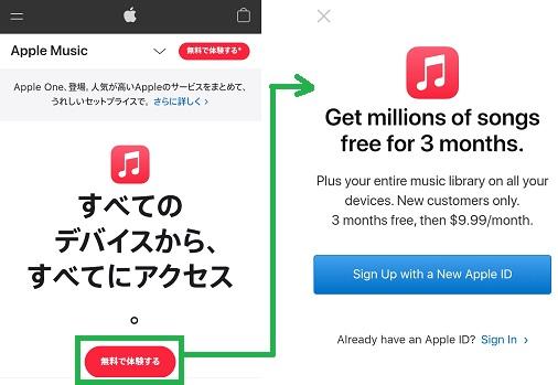 アップルミュージックからの「無料体験」リンク