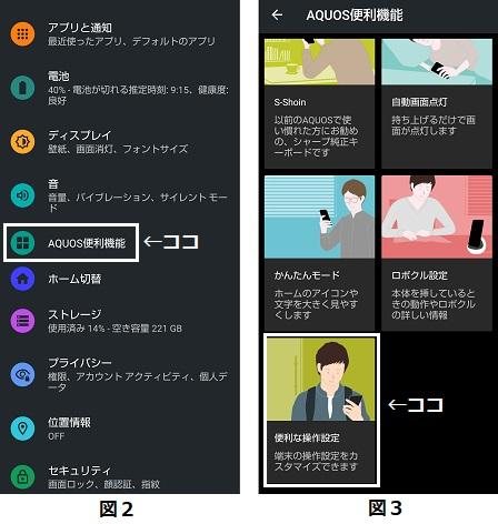 設定画面(左 図2)とAQUOS便利機能設定画面(右 図3)