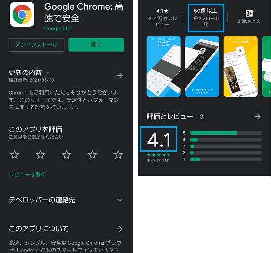 図3 Chromeのダウンロード数や評価